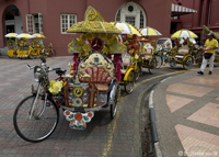 Colourful trishaws in the ancient city of Malacca